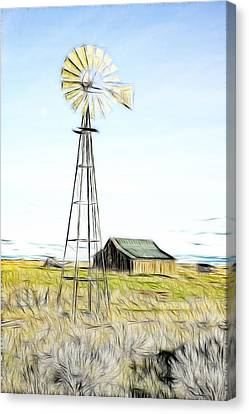 Old Ranch Windmill Canvas Print by Steve McKinzie
