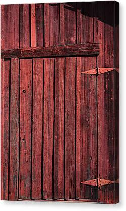 Old Red Barn Door Canvas Print by Garry Gay