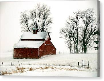 Old Red Barn In An Illinois Snow Storm Canvas Print by Kimberleigh Ladd