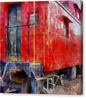Old Red Caboose Canvas Print by Michelle Calkins