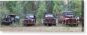 Old Rusty Cars And Trucks On Route 319 Canvas Print by Panoramic Images