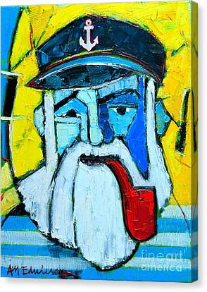 Old Sailor With Pipe Expressionist Portrait Canvas Print by Ana Maria Edulescu