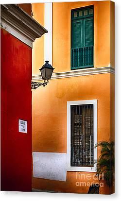 Old San Juan Street Corner Charm Canvas Print by George Oze