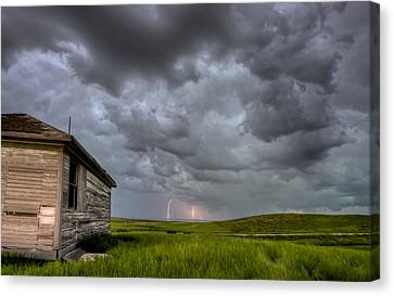 Old School House And Lightning Canvas Print by Mark Duffy