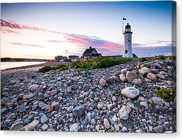 Old Scituate Light Canvas Print by Lee Costa