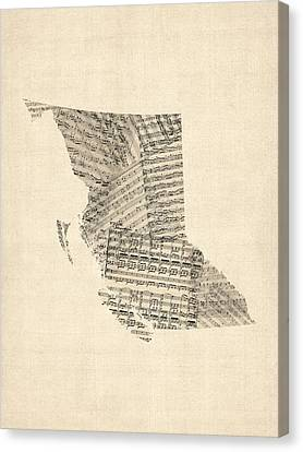 Old Sheet Music Map Of British Columbia Canada Canvas Print by Michael Tompsett