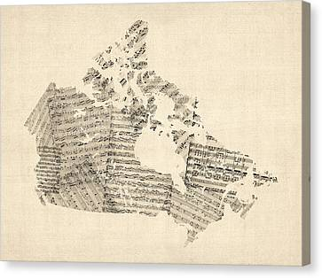 Old Sheet Music Map Of Canada Map Canvas Print by Michael Tompsett