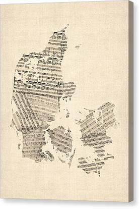 Old Sheet Music Map Of Denmark Canvas Print by Michael Tompsett