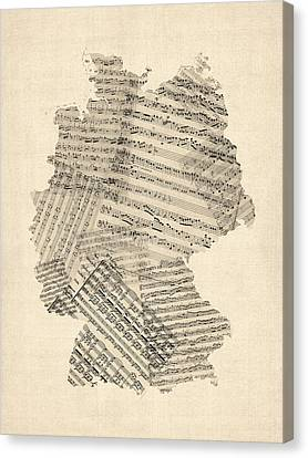 Old Sheet Music Map Of Germany Map Canvas Print by Michael Tompsett