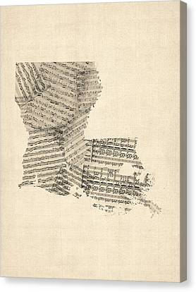 Old Sheet Music Map Of Louisiana Canvas Print by Michael Tompsett