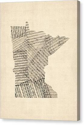 Old Sheet Music Map Of Minnesota Canvas Print by Michael Tompsett