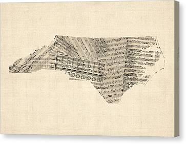 Old Sheet Music Map Of North Carolina Canvas Print by Michael Tompsett