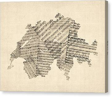 Old Sheet Music Map Of Switzerland Map Canvas Print by Michael Tompsett