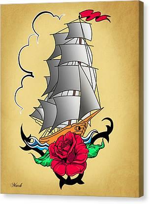 Old Ship Tattoo  Canvas Print by Mark Ashkenazi