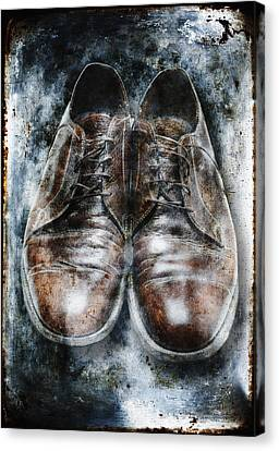 Old Shoes Frozen In Ice Canvas Print by Skip Nall