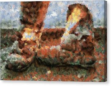 Old Snow Boots Canvas Print by Ayse Deniz