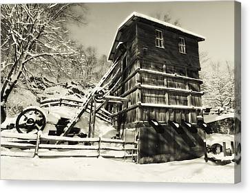 Old Snow Covered Quarry Mill Canvas Print by George Oze