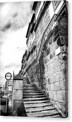 Old Stairs In Porto Canvas Print by John Rizzuto