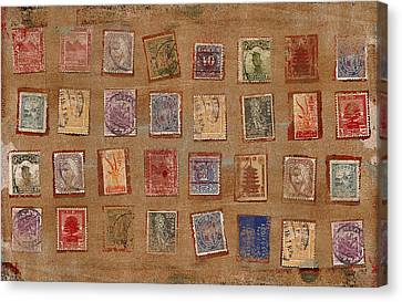 Old Stamp Collection Canvas Print by Carol Leigh
