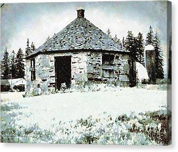Old Stone Schoolhouse In Winter - South Canaan Canvas Print by Janine Riley