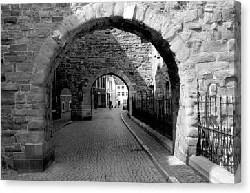 Old Street With Two Ports In Maastricht Canvas Print by Jolly Van der Velden