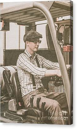 Old Style Warehouse Worker Driving Forklift Canvas Print by Jorgo Photography - Wall Art Gallery