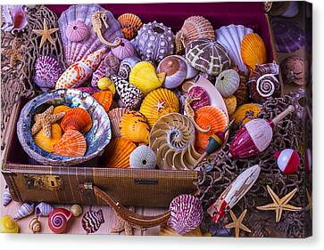 Old Suitcase With Seashells Canvas Print by Garry Gay