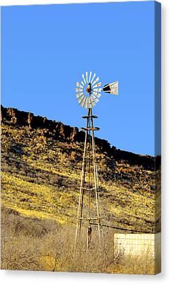 Old Texas Farm Windmill Canvas Print by Christine Till