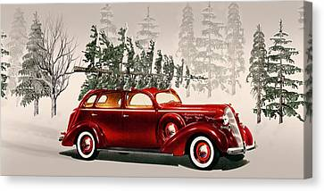 Old Time Christmas Tradition Tree Cutting  Canvas Print by David Dehner