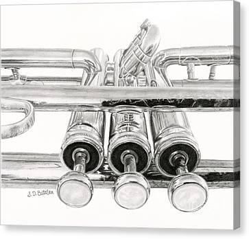 Old Trumpet Valves Canvas Print by Sarah Batalka