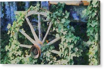 Old Wagon Wheel Canvas Print by Dan Sproul
