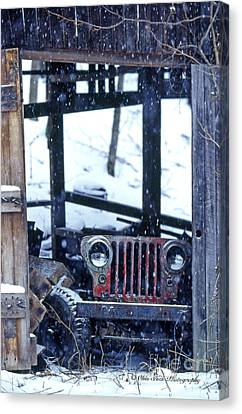 1g25 Old Willys Jeep In Old Barn Canvas Print by Ohio Stock Photography