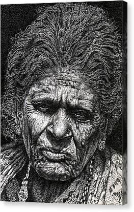 Old Woman In Sad Canvas Print by Johnson Moya