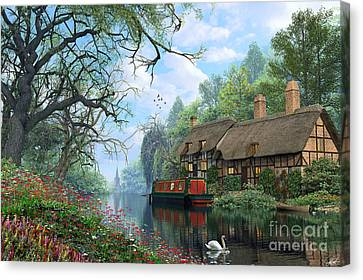 Old Woodland Canal Canvas Print by Dominic Davison