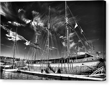 Old World Sailboat Canvas Print by John Rizzuto