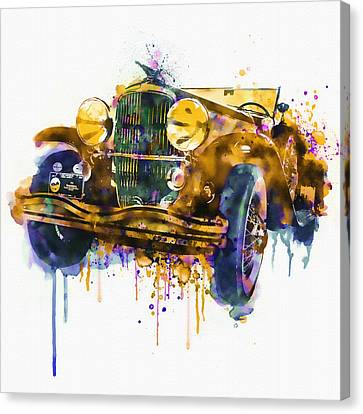 Oldtimer Automobile In Watercolor Canvas Print by Marian Voicu
