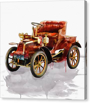 Oldtimer Car Watercolor Canvas Print by Marian Voicu