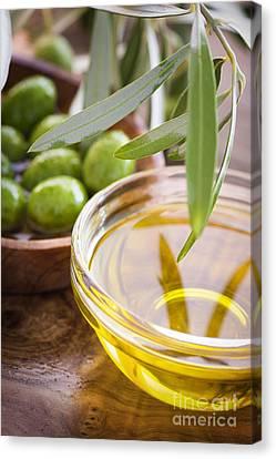 Olive Oil Canvas Print by Mythja  Photography