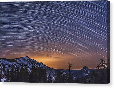 Olmstead Point Star Trails Canvas Print by Cat Connor