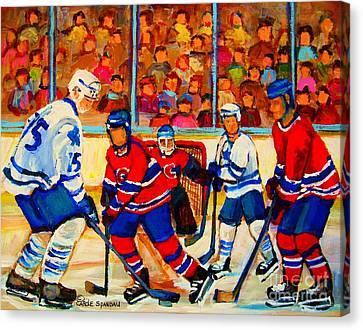 Olympic  Hockey Hopefuls  Painting By Montreal Hockey Artist Carole Spandau Canvas Print by Carole Spandau