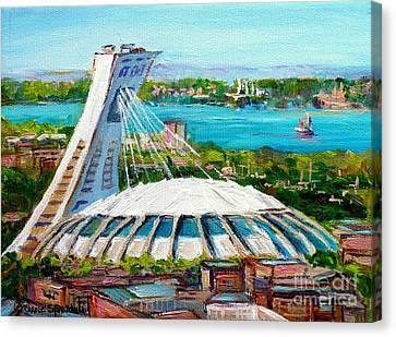 Olympic Stadium Montreal Painting Velodrome Biodome Heritage Art By City Scene Artist Carole Spandau Canvas Print by Carole Spandau