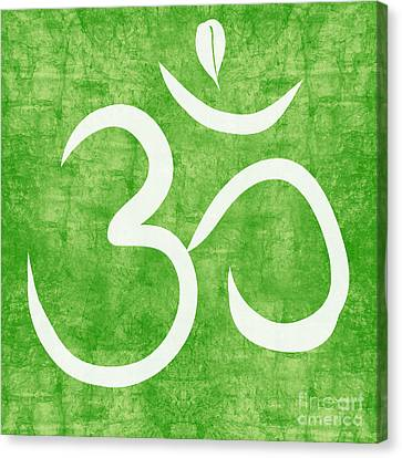 Om Green Canvas Print by Linda Woods