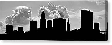 Ominous Cleveland Silhouette Canvas Print by Frozen in Time Fine Art Photography