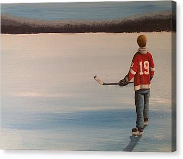 On Frozen Pond -  Stevie Canvas Print by Ron  Genest