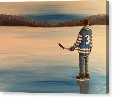On Frozen Pond -  Winter Classic 2014 Canvas Print by Ron  Genest
