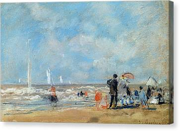 On The Beach, 1863  Canvas Print by Eugene Louis Boudin