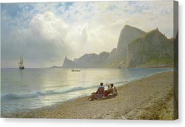 On The Beach Canvas Print by Lef Feliksovich Lagorio