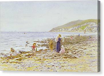 On The Beach Canvas Print by Helen Allingham