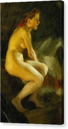 On The Bed Pa Sangkanten Canvas Print by Anders Leonard Zorn