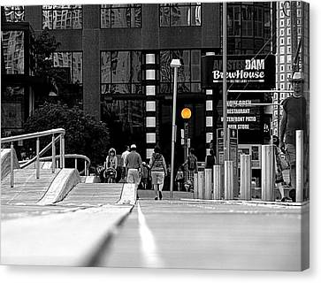 On The Boardwalk Canvas Print by Valentino Visentini